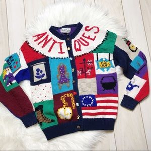 BellePointe Antiques Patchwork Cardigan Sweater
